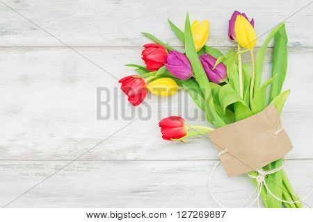Tulips with card for Mothers day gift