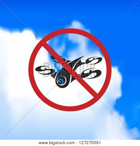 Beautiful sign forbidding flight drone. Vector art.