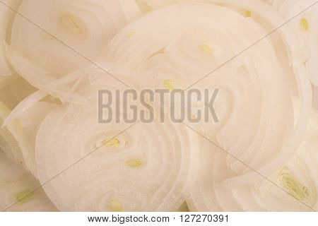 close up of slice white onions background