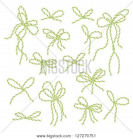 Collection of yellow green bakers twine bows on white background