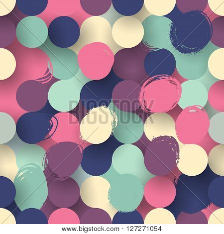 Seamless vector flat modern circles background with brush strokes in bright colors