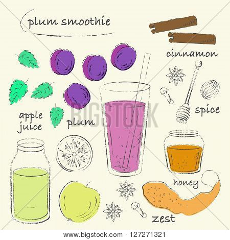 Smoothie recipe drawing. Plum smoothie glass with ingredients. Plum apple honey cinnamon spices. Charcoal grungy sketch line art. Vector recipe illustration.