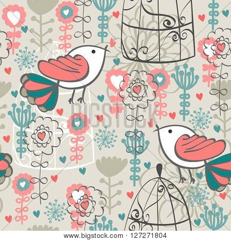 Cute seamless pattern with  birds and flowers. Spring vector background.