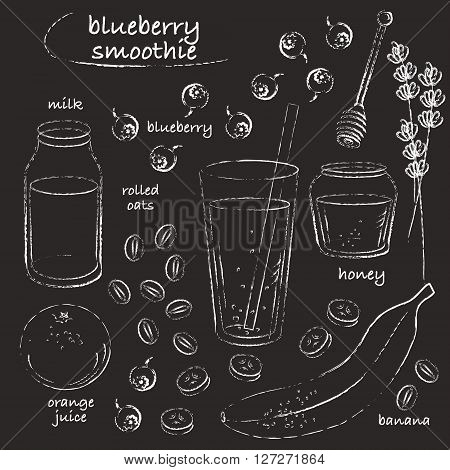 Smoothie recipe drawing. Blueberry smoothie glass with ingredients. Blueberry banana honey orange milk oats. Chalk grungy sketch line art. Vector chalkboard illustration.