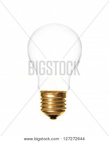 a plain light bulb on a white background which can be filled with text