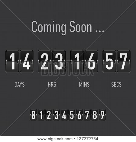 Coming soon text with days and hours countdown in flip font