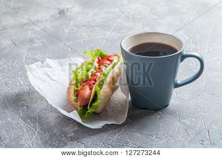 Hotdog With Big Sausage And Fresh Lettuce