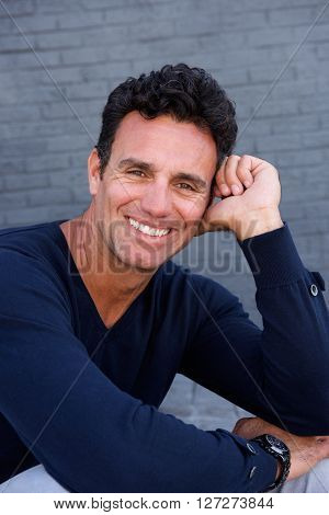 Handsome Older Man Smiling With Blue Sweater