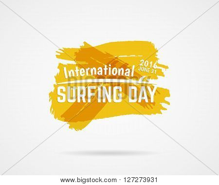 Summer surfing day graphic elements. Vector Vacation typography emblem. Surfer party label with surf symbols - surfboard and sign on watercolor ink splash background. Use for Web or print on t shirt.