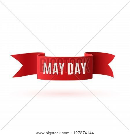 Red curved paper banner isolated on white background. May Day, May 1st. Labor Day, template. Vector illustration.