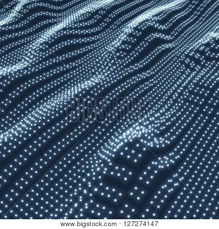 Wave Grid Background. Ripple Grid. Lattice Background. Glowing Grid. Wireframe illustration with Dots. Network Design with Particle
