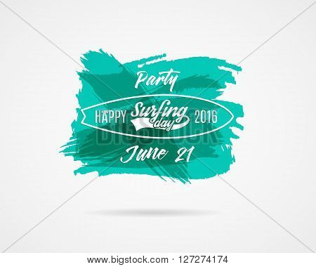 Summer surfing day graphic elements. Vector Vacation typography emblems set. Surfer party with surf symbols - surfboards and sign on watercolor ink splash background. Use for Web or print on t shirt.