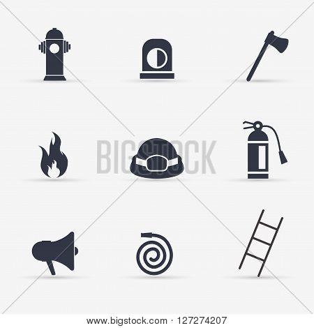 Fireman Icons black set. Vector flat illustration.