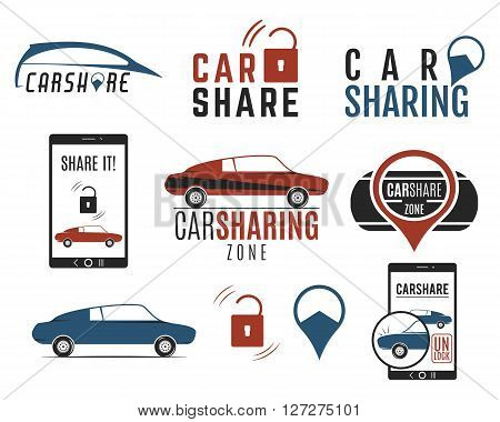 Car share logo designs set. Car Sharing vector concepts. Collective usage of cars via web application. Carsharing icons, elements and symbols collection. Use for webdesign or print. Color palette.