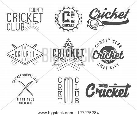Set of cricket team emblem and design elements. Cricket championship logo designs. Cricket club badges. Sports symbols with cricket gear, equipment. Use for web or tee design or print them.
