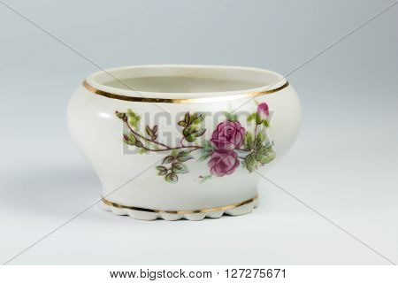 Sugar Bowl With Flowers On White Background