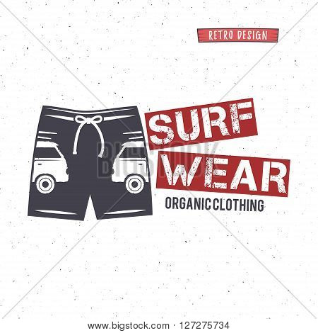 Vintage Surfing Wear stamp design. Surf Clothing shop logo. Graphics and Emblem for web design or print. Surfer, beach style badge. Surf Label. Vector tee. Surfing t-shirt design.