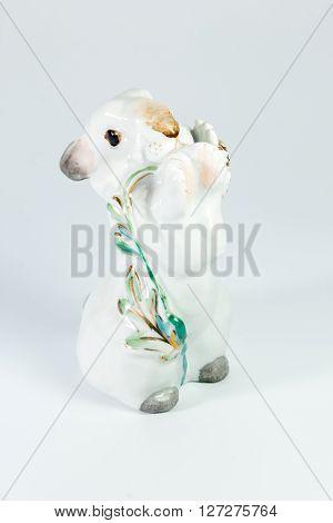 White Porcelain Rabbit On White Background
