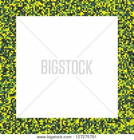 Pixel mosaic square border (frame) in acid colors - bright yellow and green
