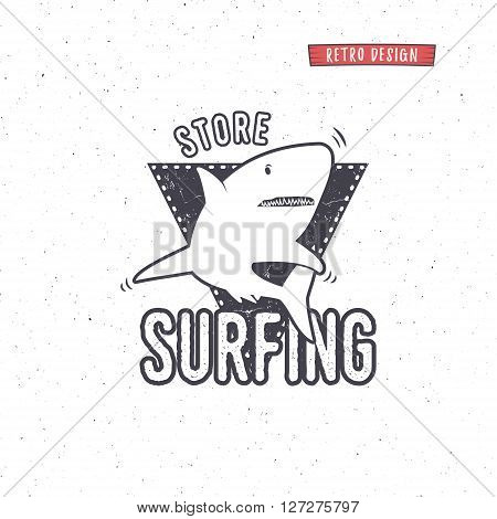 Vintage Surfing Store Badge design. Surf gear shop Emblem for web design or print. Retro shark logo design. Surf equipment Label. Surfer seal, stamp. Summer insignia. Vector hipster icon