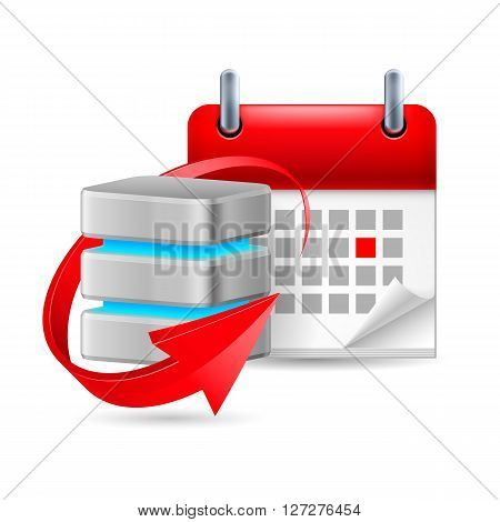 Database sign with update symbol and calendar with marked day