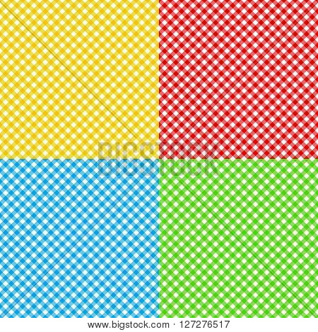 different colors checked fabric tablecloth texture seamless pattern vector illustration