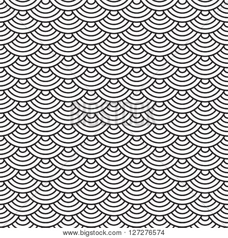 fish scales seamless pattern vector illustration black and white