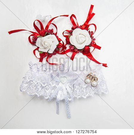 Garter and wedding. A Traditional bride decoration