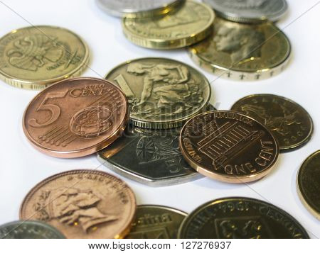 Some different types of coins from various countries
