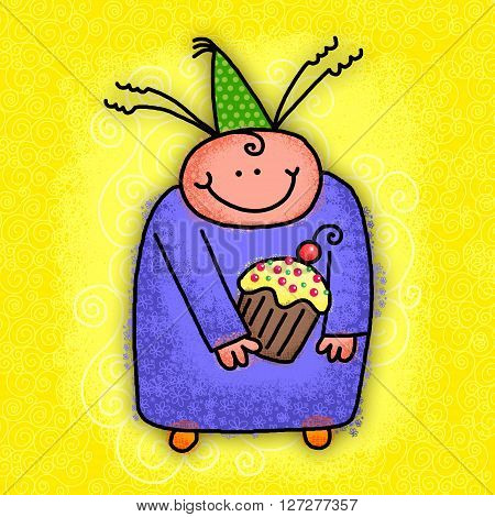 Cute cartoon doodle of a happy person holding a cupcake and wearing a party hat.