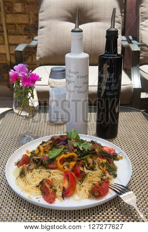 Vegetable spaghetti with mushrooms and vinegar with olive oil