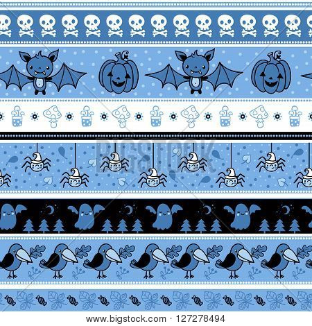 Halloween seamless pattern with ghost. Vector background illustration.