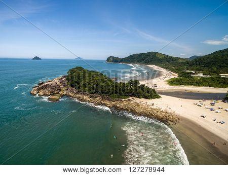 Aerial View of Camburi Beach, Sao Sebastiao, Sao Paulo, Brazil
