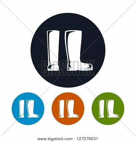 Working Rubber Boots for Working in the Garden, on the Farm, for Fishing, for Walking in the Forest ,Four Types of Colorful Round Icons Boots, Work Shoes Icon, Vector Illustration