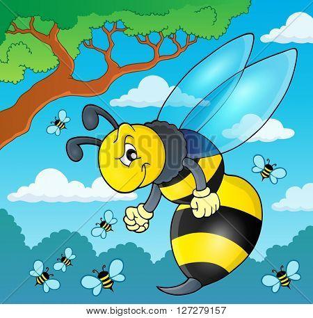 Wasp theme image 2 - eps10 vector illustration.
