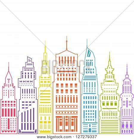 Colorful Modern Big City with Buildings and Skyscraper , Architecture Megapolis, City Financial Center, Linear Style Design, Real Estate, Vector Illustration