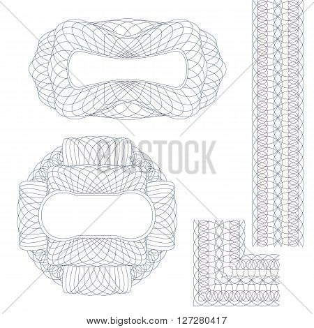 Set Guilloche Elements. Decorative Rosettes and Border on a White Background.