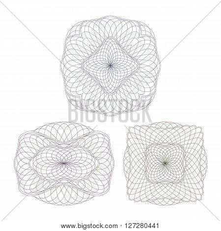 Set Guilloche Elements. Decorative Rosettes on a White Background.
