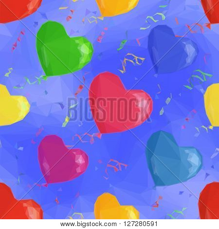Heart Shaped Balloons Flying in Blue Sky, Low Poly Pattern, Colorful Background. Vector