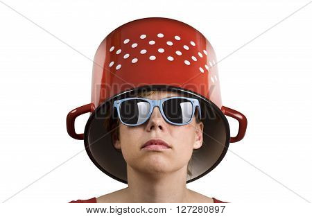 Young woman with blue sun glasses and a red cooking pot with dots on her head