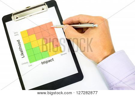 Hand pointing a ball pen at the red area of a risk classification chart on a paper in a clipboard showing the risk classification table