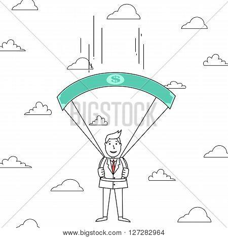 Cartoon man falling through clouds with dollar bill parachute
