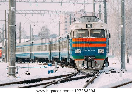 Gomel, Belarus - January 24, 2016: Diesel locomotive of Belarusian Railway.