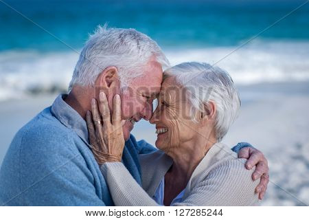 Senior couple embracing at the beach