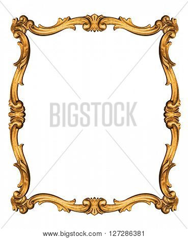 Wooden vintage frame isolated on white background -Clipping path