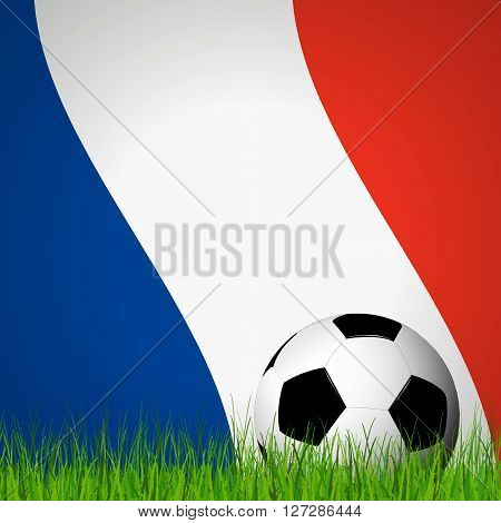 Soccer Ball In Front Of France Flag