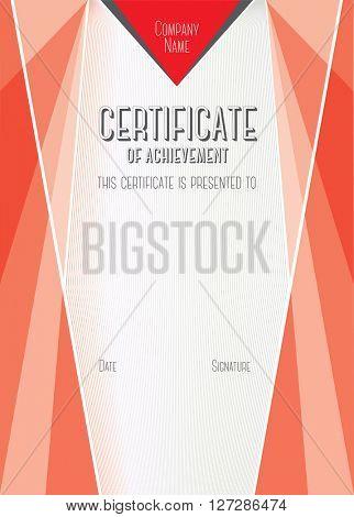 Horizontal Modern Certificate of Achievement. Vector template