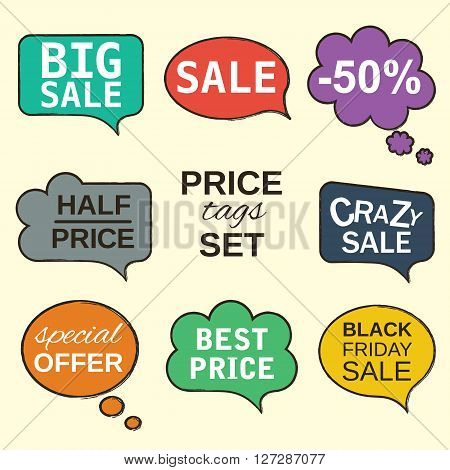 Multicolored labels. Sale promotion speech bubbles collection set with price tags isolated on beige. Vector illustration The text can be easily removed. Fully editable and customizable.