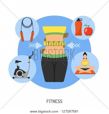 Healthy Lifestyle and Fitness Concept for Mobile Applications, Web Site, Advertising like Yoga, Exercise Bike, Food and Waist.