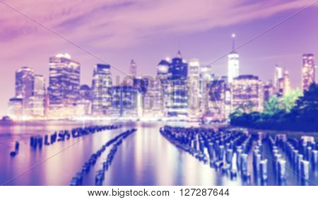 Blurred Purple Toned Picture Of New York City Waterfront.